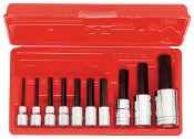 "PROTO J4900MA - 10pc 3/8"" & 1/2"" Drive Metric Socket Hex Bit Set"