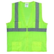 GREEN SAFETY VEST ZIPPER  4-X