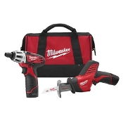 MILWAUKEE 2490-22 1/4 HEX DRIVER AND HACKZAW KIT W/2 BATTERIES