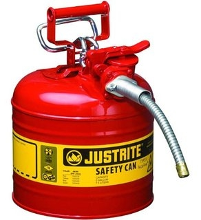 "JUSTRITE 7225130 2.5 Gallon/ 9.5L Type 2 Safety Can, Red 1"" Hose"