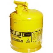 JUSTRITE 7150200 SAFETY CAN 5 GALLON YELLOW NO SPOUT
